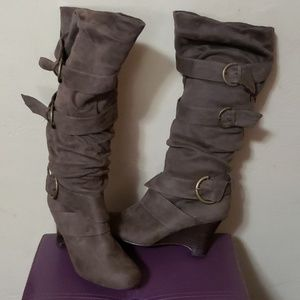Not rated tall taupe wedge boots